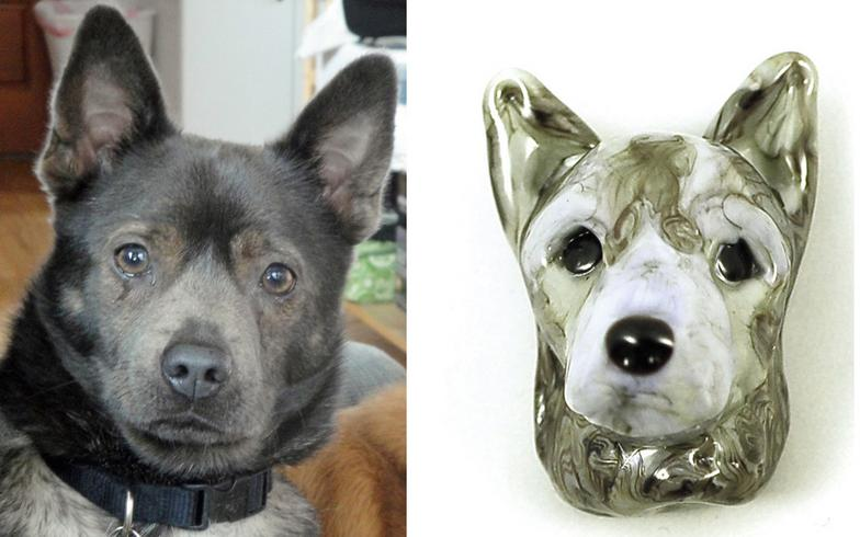Custom dog sculpture in glass